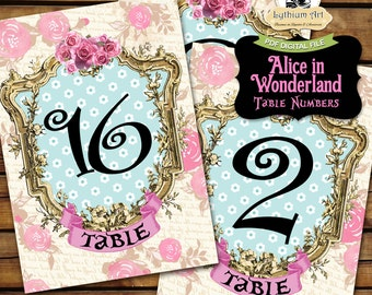 Alice in Wonderland Table Numbers - Printable Table Numbers 1 to 20 - 5x7 Table Numbers - Alice in Wonderland Decorations - Wonderland Party