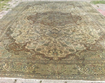 Ca1940-1950s Semi-Antique 7x10ft Muted Dyes Wool Pile Turkish Hereke Rug