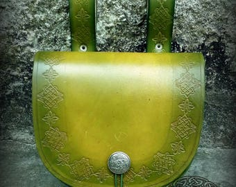Green Leather Medieval Belt bag