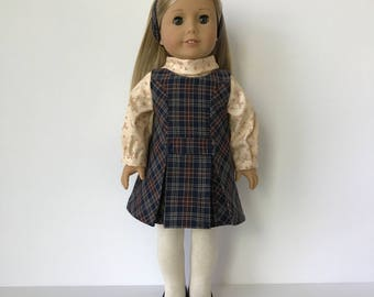 American Girl Doll  '60s Style Plaid Jumper with Blouse