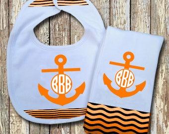 Anchor Monogrammed Baby Bib with matching Burp Cloth Set (Orange)