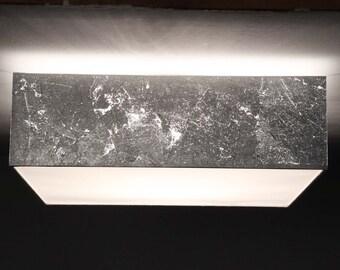 Ceiling lamp 40 x 40 cm, H. 15 cm, silver leaf optics