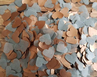 Rose gold (Copper/bronze)and Grey(silver)heart wedding throwing confetti!Birthday,Party Decoration.Romantic,autumn summer.ECO,2-20 handfuls