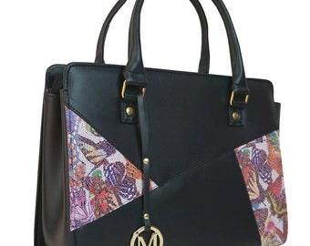 Large black handbag Patchwork