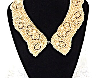 Pearl Collar, Vintage Bridal Collar, Beaded Collar, Sweater Collar, Bib Necklace, Wedding Wear, Vintage Wedding Collar