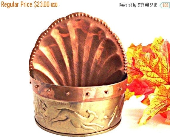 On Sale Copper And Brass Wall Planter Home By Agedwithgracevintage