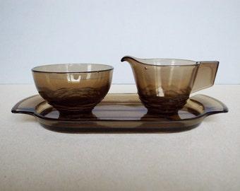 Dutch Vintage Art Deco Glass - Pijnappel / Pineapple - A Set of Sugar Bowl Creamer and Tray Designed by A D Copier / Royal Leerdam
