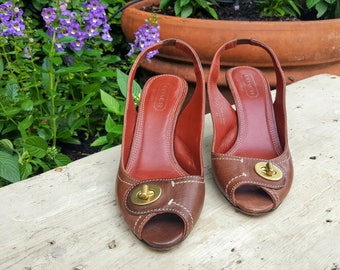 Coach Brown Leather Sling Back Heels/Brown Leather Pumps/Coach Leather Heels/Coach Leather Shoes/Coach Gold Buckle Shoes/Coach Italian Made
