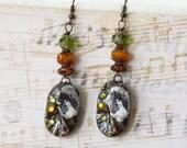 Vintage Earrings, Shabby Chic, Rustic Earrings, Earthy Earrings, Art Deco, Retro Earrings, Glass Beads, Ceramic, Dangle Earrings