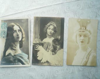 8 French Vintage Postcards, French Ladies Postcards, Sepia and Hand tinted Postcards, Actress Cleo de Merode, French Women, 1900 -1907