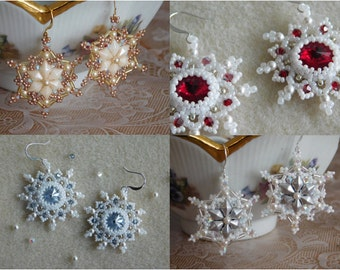 2 Tutorials, Snowflake and January Earring Tutorials, Beaded Pattern, Instructions, 2 PDFs, Beadweaving