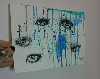 Small abstract drips and eyes artwork by Joanna Strange