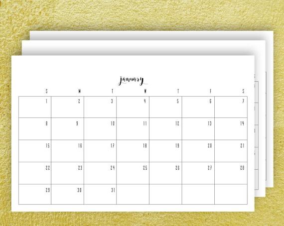 Horizontal Monthly Calendar : Printable monthly calendar horizontal spread