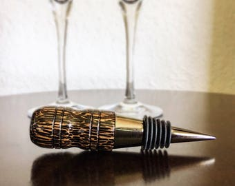Handmade Black Palm Wood Wine Bottle Stopper, Bottle Stopper, Housewarming Gift, Hostess Gift, Wine Wedding Favor, Wine Gift