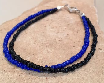 Black and blue double strand bracelet, seed bead bracelet, sterling silver bracelet, boho bracelet, fall bracelet, gift for her