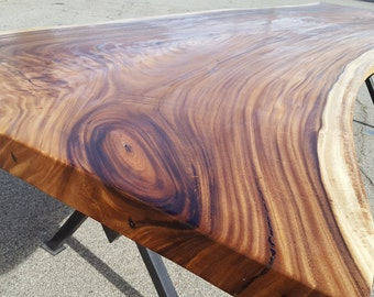 "130"" Solid Slab Acacia Wood, Live Edge Dining Table Hand Crafted 041 SOLD"