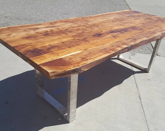 """92"""" Handcrafted, Acacia Wood Live Edge Dining/Office Table A004"""