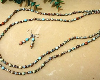 Infinity Necklace - Jasper Necklace - Jasper Jewelry - Beaded Wrapped Necklace - Long Beaded Necklace - Southwest Jewelry - Sterling Silver