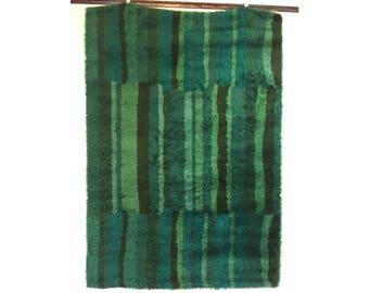 "Danish Modern Wool Shag Rya Area Rug 53"" x 76"" Wall Hanging Wegner Juhl Era"