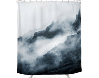Foggy Mountains Shower Curtain, Nature Photo Art, Mist Winter, Landscape Photography, Fog, Gray, Blue, Chic Bath Decor, Romantic Bathroom