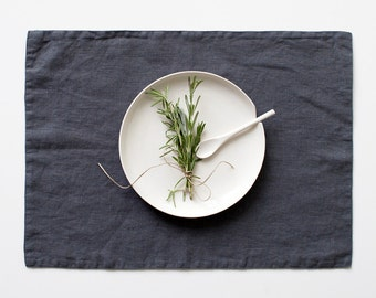 Dark Grey Stone Washed Linen Placemat