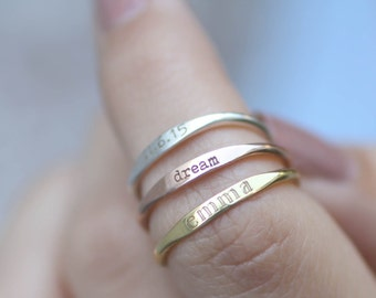 HOLIDAY SALE 40% OFF*  Skinny Stackable Name Ring - Personalized Custom Name Ring - Sterling Silver Stacking Ring - Custom Name - Names Ring