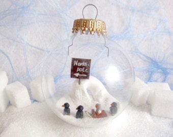 Pinguin Glaskugel Wohnungsdekoration Weihnachtsschmuck Fensterdekoration Geschenk Miniatur