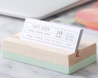 Wood Business Card Holder - Mint | Hand Painted | Horizontal or Vertical Business Card holder | Desk Accessory | Office Supplies