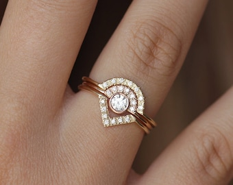 Diamond Ring, Dainty Engagement Ring, Rose Gold Diamond Ring, Half Diamond Halo Ring, Diamond Crown Ring, 0.2 Carat Diamond Ring