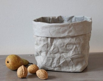 Linen basket, Linen storage bag, washable paper bag, Kitchen storage, bread basket, desk organizer, home decor, hamper, rustic style