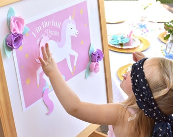 INSTANT DOWNLOAD - Pin the Tail on the Unicorn, Unicorn Party Games, Unicorn Birthday