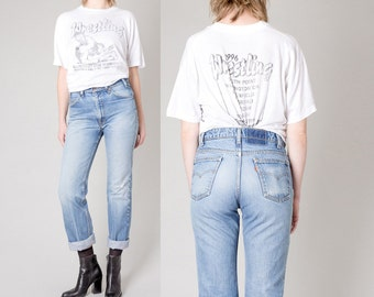 BOYFRIEND jeans LEVIS DISTRESSED ripped vintage High Waist faded pants / Size 10 12 / better Stay together