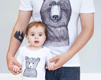 Dad - Matching - Daddy Bear - Bear Sleepsuit Set - Bear sleepsuit and men's t-shirt set