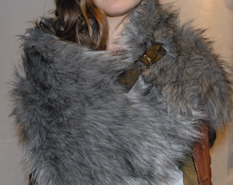 Luxury Faux Fur Grey Wrap/Shawl