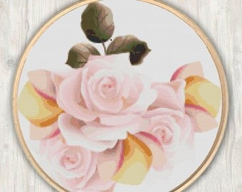 Pink Rose Cross Stitch Pattern, modern cross stitch pattern, rose cross stitch pattern, needlecraft, colorful, instant PDF download