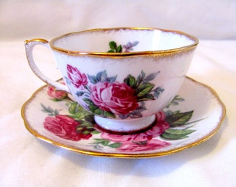 Vintage 50s Crimson Glory Tea Cup & Saucer, Made by Roslyn Fine Bone China, England