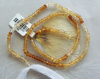 """AAA Grade Shaded Hessonite Garnet Gemstone Very Small Faceted Rondelle Beads ~ 14"""" Strand ~ 3mm"""