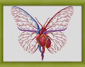 "PDF Cross Stitch Pattern ""Human Heart in Love""  Instant Download"