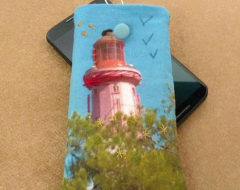 smartphone cover, cell phone cover, case phone embroidered lighthouse