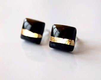 Minimal earrings Simple Geometric Black square ear studs earrings Black studs Simple earrings Minimal ear studs Black Geometric earrings