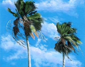 "Palm Trees Painting Reproduction Palm Tree Art Windblown ""Breezy Palms"" Tropical Beach Wall Art Canvas Giclee Coastal Landscape"