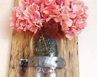 Mason Jar SET - Reclaimed Wood and Mason Jar - Mason Jar Candle Holder - Mason Jar Vase - Reclaimed Wood Wall Sconce - Wall Vase
