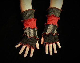 Arm Warmers, Wrist Warmers, Katwise, Cotton Gloves, Bohemian, Upcycled, Fingerless Gloves, Boho Glove, Hippie Clothes, Hobo Glove