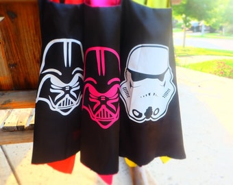 R2Ship! Darth Vader, Storm Trooper, Chewbacca or Yoda capes. Star Wars Birthday party favors, capes, costumes, dress up, cosplay.