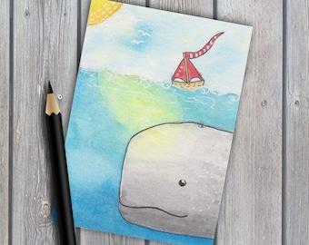 ACEO,original watercolour, whale painting, original painting, watercolor painting, seascape painting, miniature painting, coastal art, ATC
