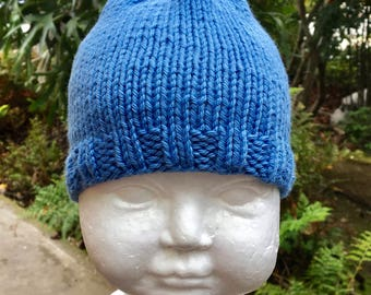 Ocean Blue Baby Hat with Ribbed Edge & Loop on Top (3-6 Months)