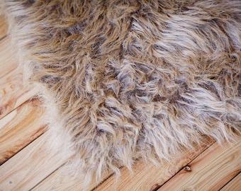 Light Brown Faux Fur, Newborn Photo Prop, Basket Filler, Basket Stuffer, Newborn Blanket Prop, Newborn Props