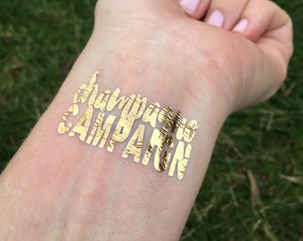 Champagne Campaign, Gold Foil,Tattoos, Temporary Tattoo, Bachelorette Party, Champagne Party Favor, New Years Eve Favor, NYE, Flash Tat