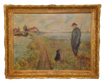 Antique European Painting Hunter in the Field with Dog #3121