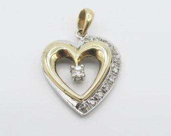 Estate Diamond Heart Pendant 14k Yellow White Gold Two Tone